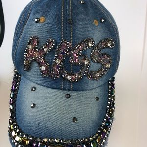 Denim distressed rhinestone cap/hat